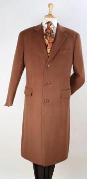 Camel 100% Wool Center Vent Overcoat
