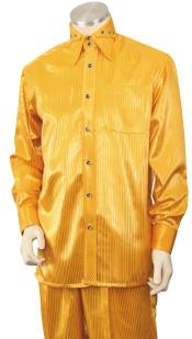 Gold Button Fastening Walking Silk Leisure Suit