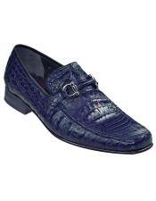 Mens Navy Genuine Caiman Crocodile Belly