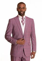 Lilac Checkered Patterned Window Pane Suit