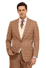 Tan Checkered Patterned Window Pane Suit