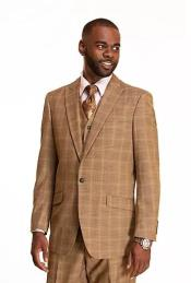Wheat Checkered Patterned Window Pane Suit