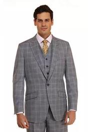 MensSteelCheckeredPatternedWindowPaneSuit