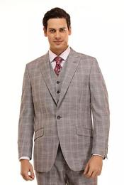 Grey Checkered Patterned Window Pane Suit