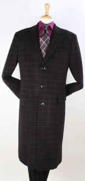 Mens Plaid 100% Wool Overcoat -
