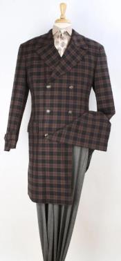 Plaid 100% Wool Overcoat - Plaid Wool Topcoat Brown