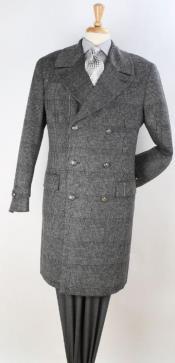 Plaid 100% Wool Overcoat - Plaid Wool Topcoat Grey