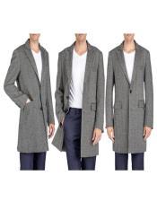 Overcoat - Tweed Coat Three Quarter Mid Length Black