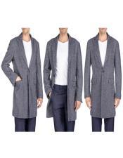 Overcoat - Tweed Coat Three Quarter Mid Length Navy