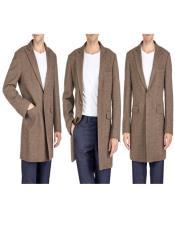 Overcoat - Tweed Coat Three Quarter Mid Length Brown