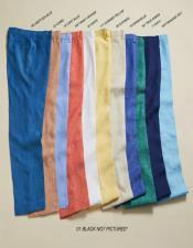 Linen Fabric Flat Front Pants Pastel