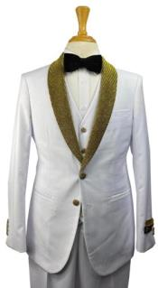and Gold Tuxedo Vested 3 Pieces Suits