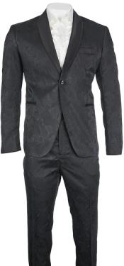 Slim Fit Black Paisley Floral Suit - Flower Suit