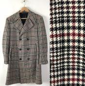 Houndstooth Six Button Front Double Breasted Wool Overcoat