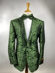Green Paisley Tuxedo Dinner Jacket With Bow Tie -