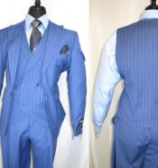 Mens Sky Blue Stripe Peak Lapel