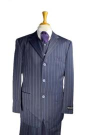 Three Buttons Bold Chalk Pinstripe Navy