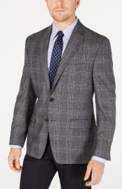Mens Plaid Windowpane Checker Slim Fit