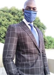 Face Mask and Matching Tie Set Blue Dot