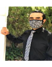 Face Mask and Matching Tie Set Grey