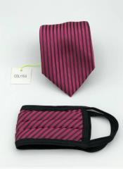 Face Mask and Matching Tie Set Fuchsia