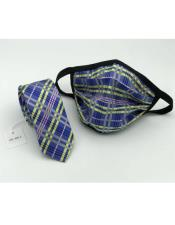 Face Mask and Matching Tie Set Blue/Yellow Plaid