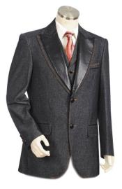 Mens Black Single Breasted Peak Lapel