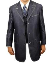 MensNavyDenimluxuriousfashion3piecesuit