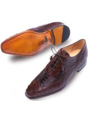 Mens Tobacco Brown Ostrich Skin Shoes