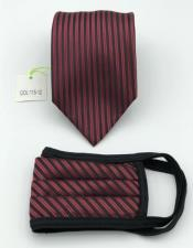 Face Mask And Matching Tie Set Burgundy