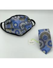 Face Mask And Matching Tie Set Blue ~ Gold