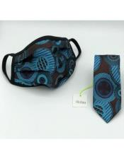 Face Mask And Matching Tie Set Turquoise