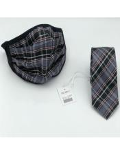 Face Mask And Matching Tie Set Black ~ Grey