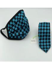 Face Mask And Matching Tie Set Turquoise Checkered