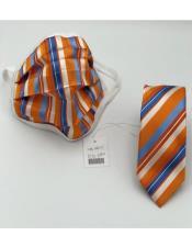 Orange~BlueStripes100%CottonProtectiveFaceMask