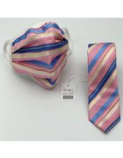 Face Mask And Matching Tie Set Pink ~ Blue