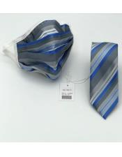 Face Mask And Matching Tie Set Grey ~ Blue