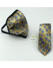Face Mask And Matching Tie Set Navy ~ Gold