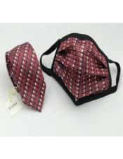 Face Mask And Matching Tie Set Burgundy Checkered