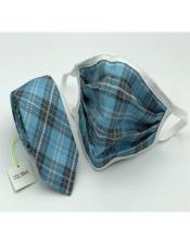 Face Mask And Matching Tie Set Turquoise Dot