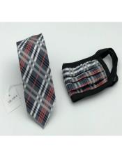 Face Mask And Matching Tie Set Black ~ Red