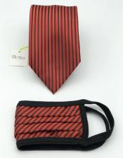 Face Mask And Matching Tie Set Red