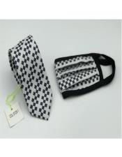 Face Mask And Matching Tie Set Black Checkered