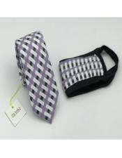 Face Mask And Matching Tie Set Purple Checkered