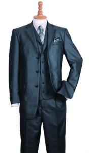 Mens Three Buttons Style Suit Black