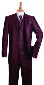 Mens Notch Lapel Burgundy Suit