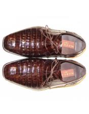 Mens Mezlan Brown Genuine Alligator Shoes