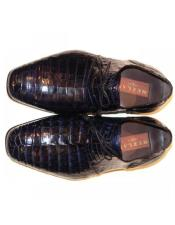 Mens Mezlan Navy Genuine Alligator Shoes