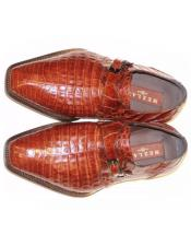 Mens Mezlan Brown Genuine Crocodile Shoes