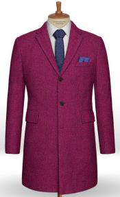 Single Breasted Notch Lapel Pink Tweed Overcoat